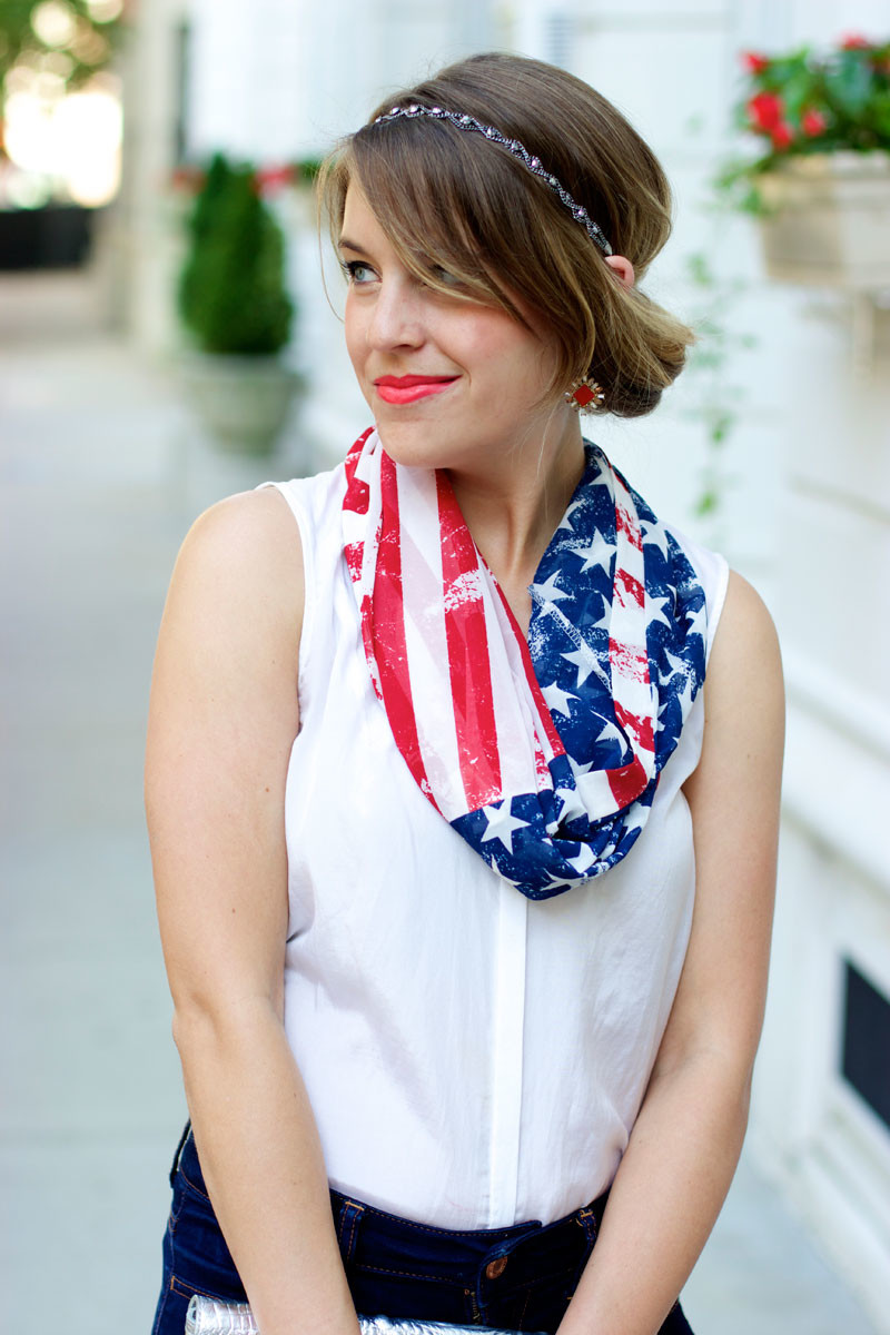 4th of july outfit, american flag scarf