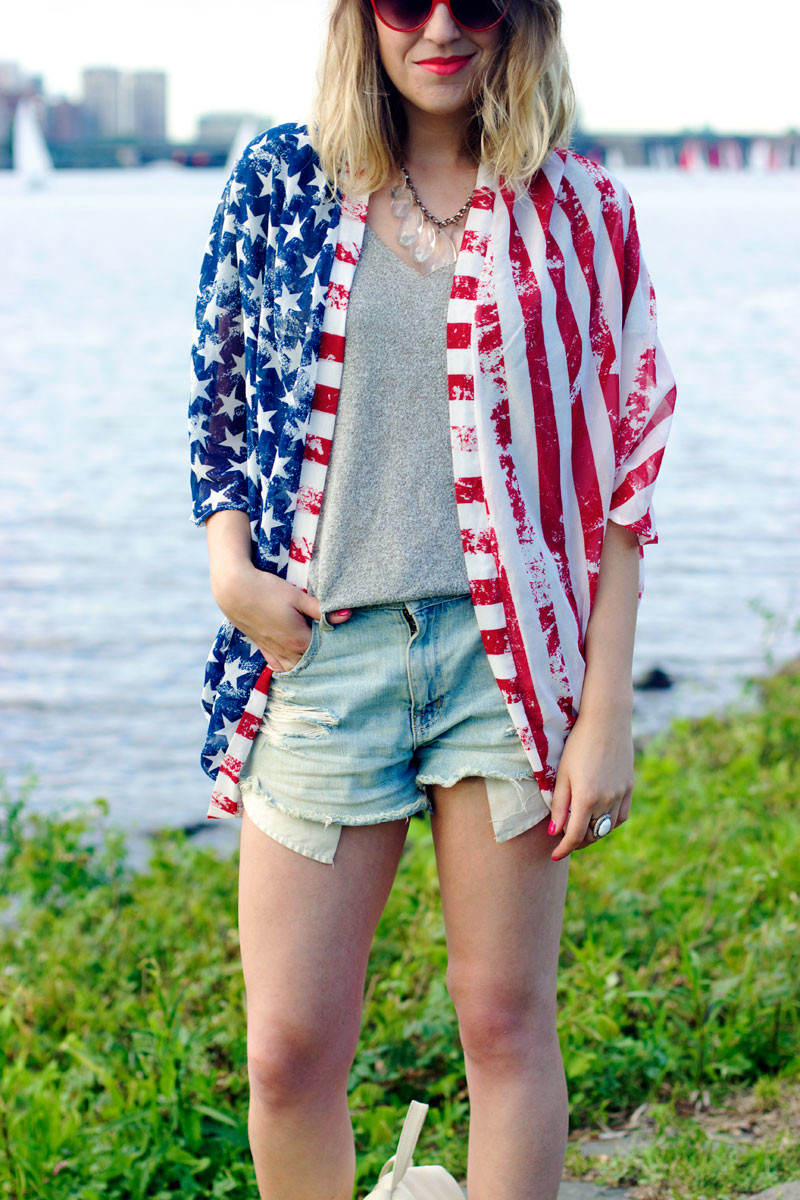 american flag kimono, casual 4th of july outfit, red white and blue outfit