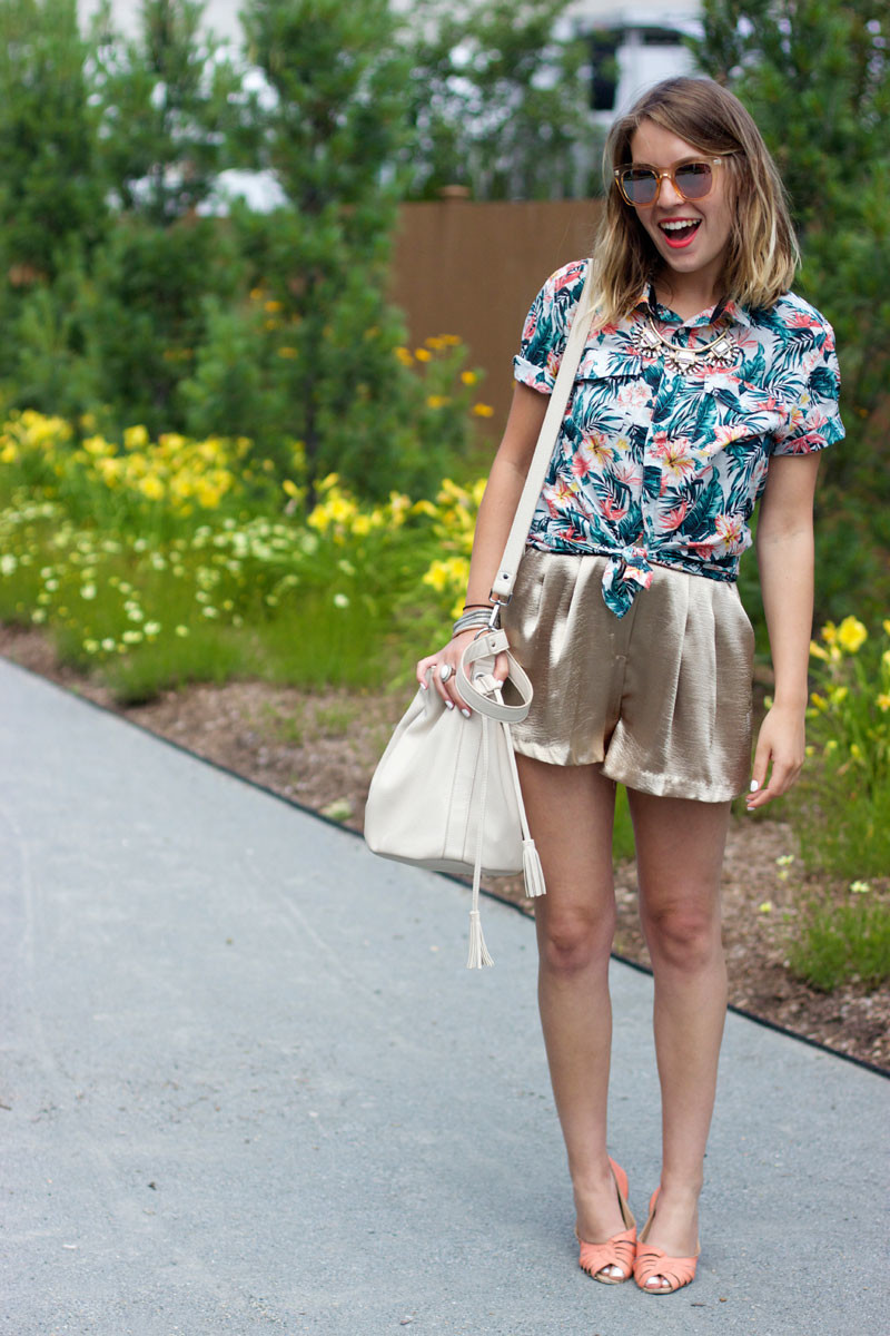 tropical-print-shirt-and-gold-silk-shorts