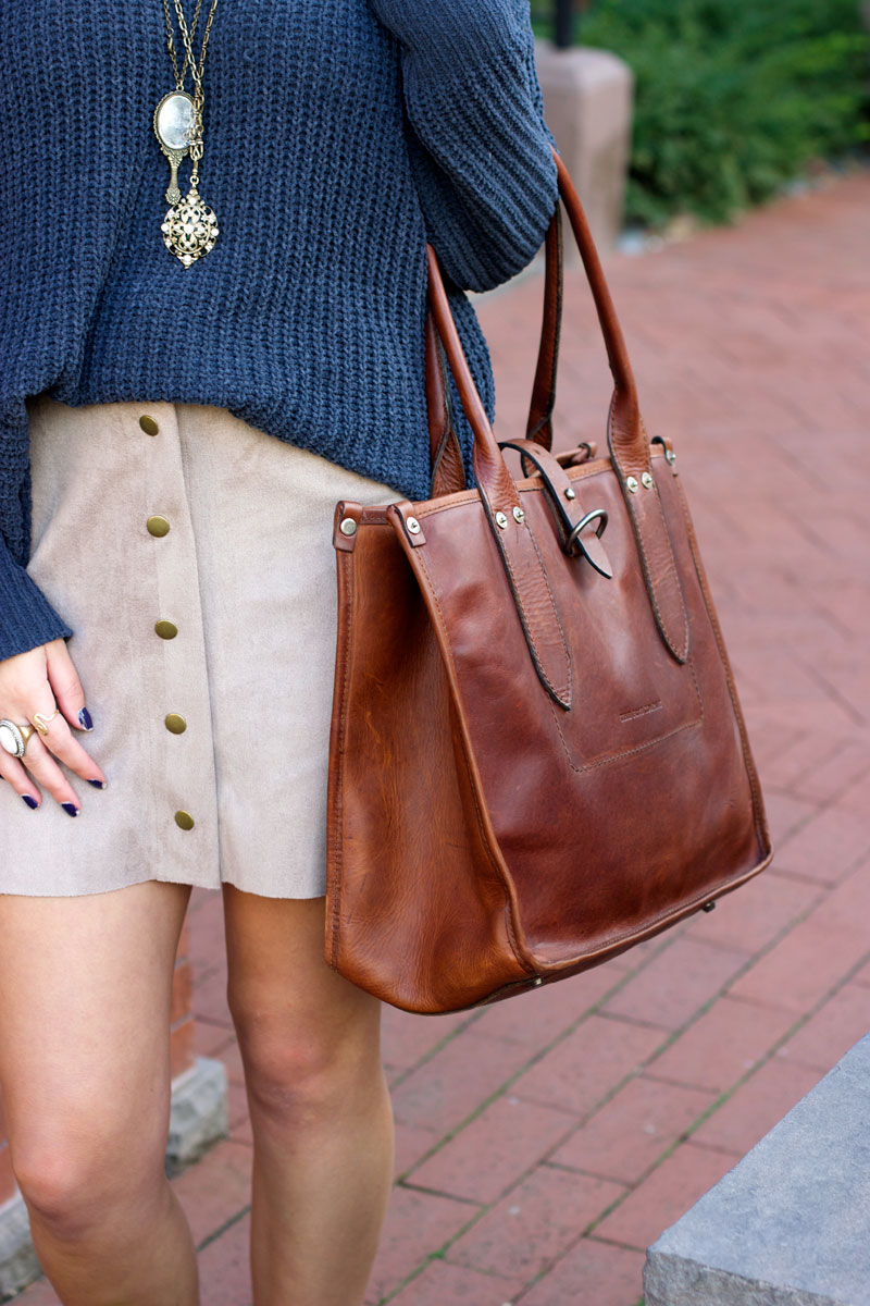 button down suede skirt + Frye amy shopper