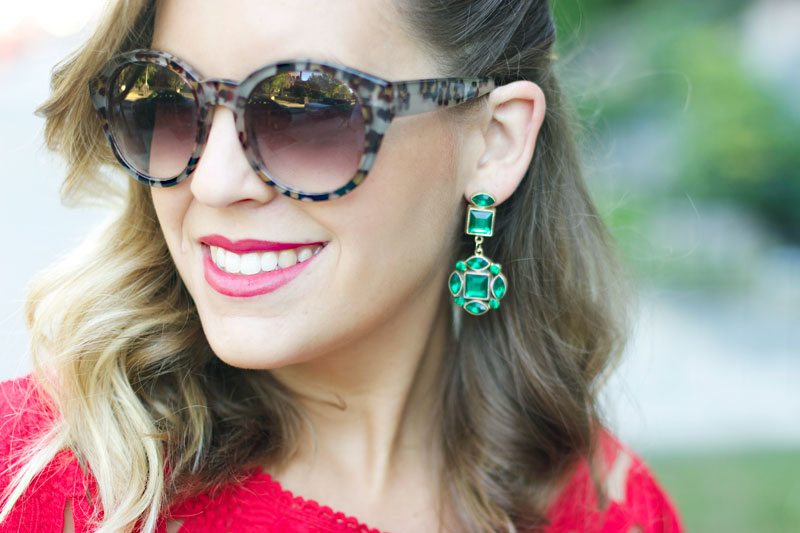 Emerald green statement earrings | Style Tab
