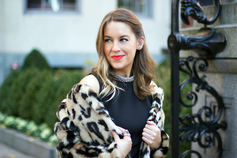 Holiday glam: Animal print coat and little black dress