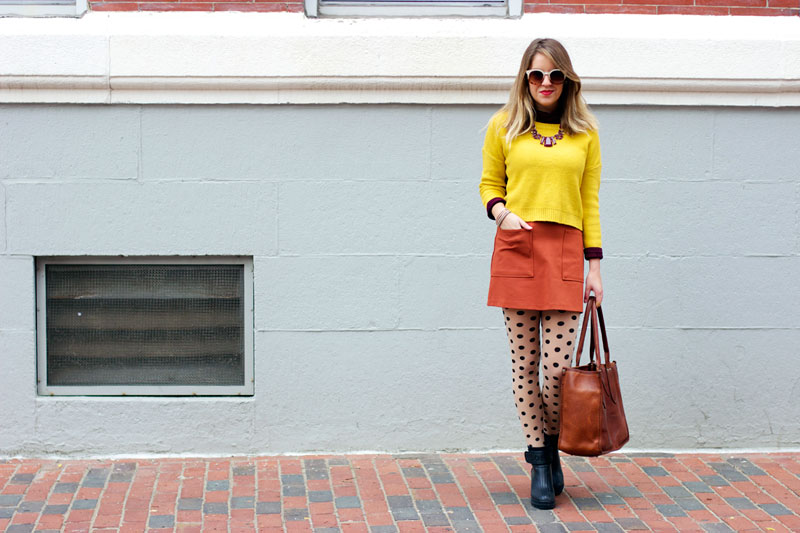 Polka dot tights for fall on Style Tab