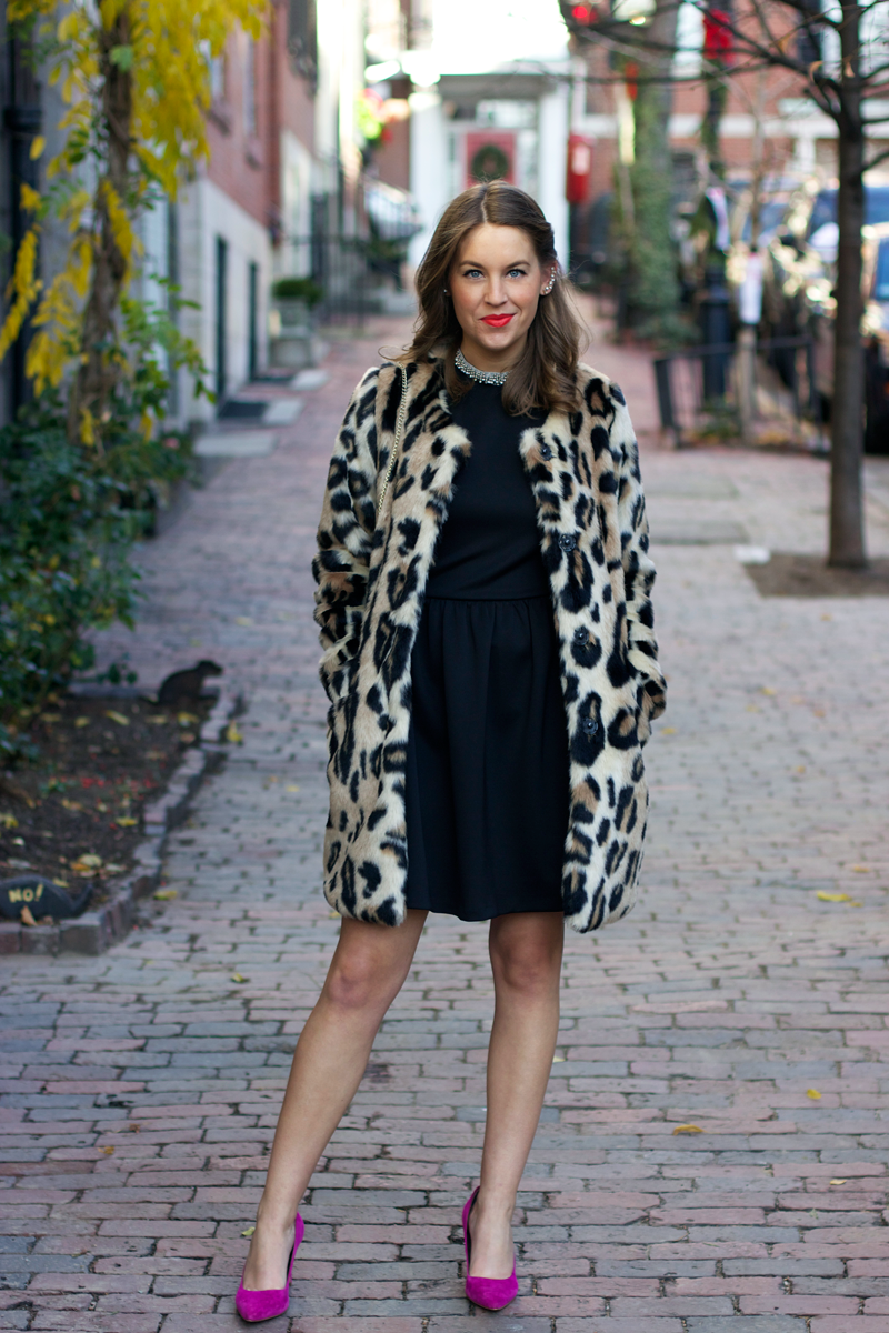 Holiday outfit: Animal print coat and little black dress