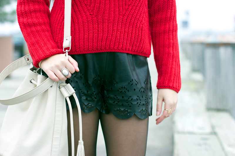 Scalloped leather shorts