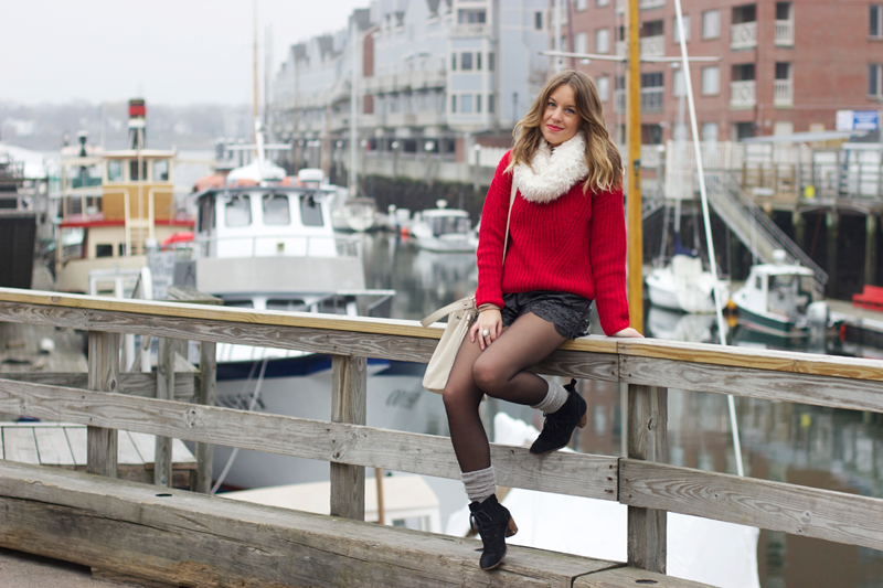 Winter outfit: Sweater with shorts and tights