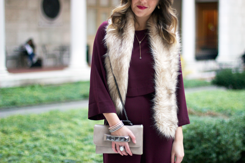 Faux fur stole - winter outfit idea