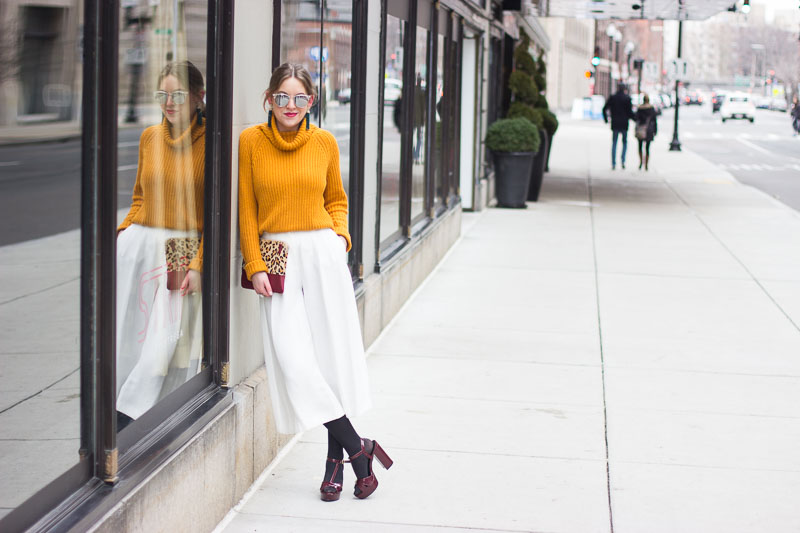 How to wear culottes in the winter - Winter White Culottes