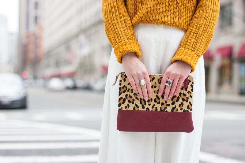 leopard print clutch - Winter White Culottes
