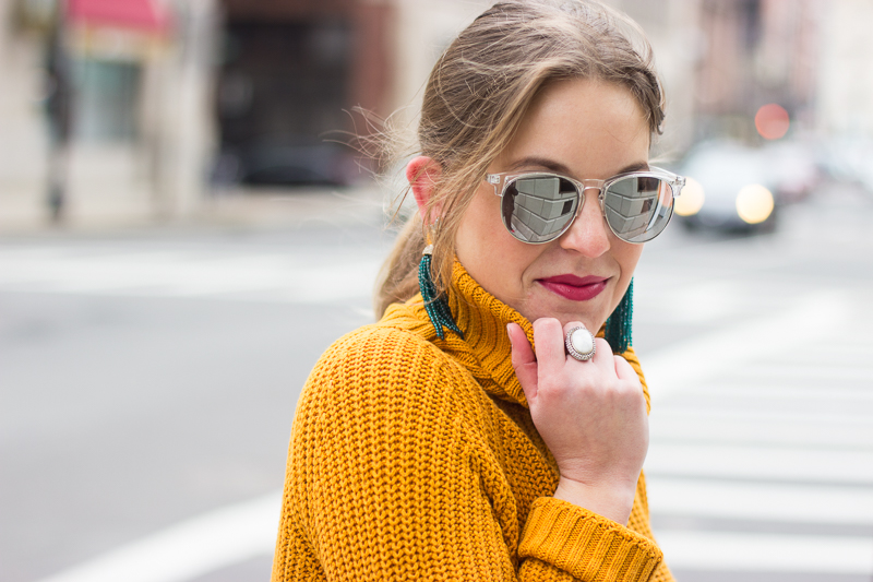 mustard turtleneck - Winter White Culottes