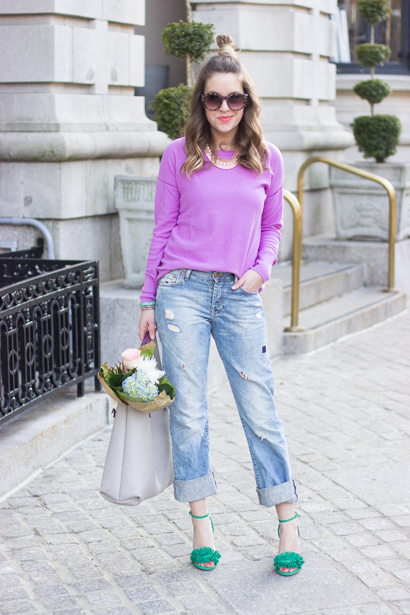 how to wear heels with boyfriend jeans