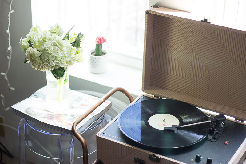peach record player urban outfitters
