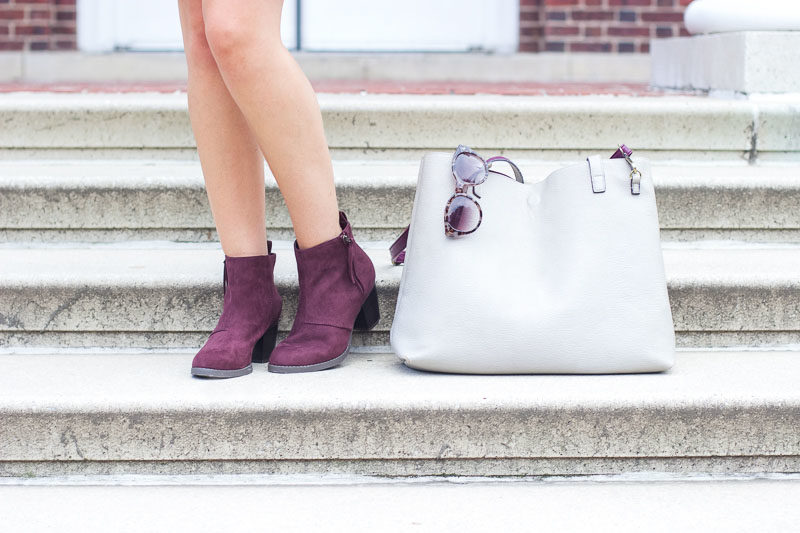 purple suede booties old navy