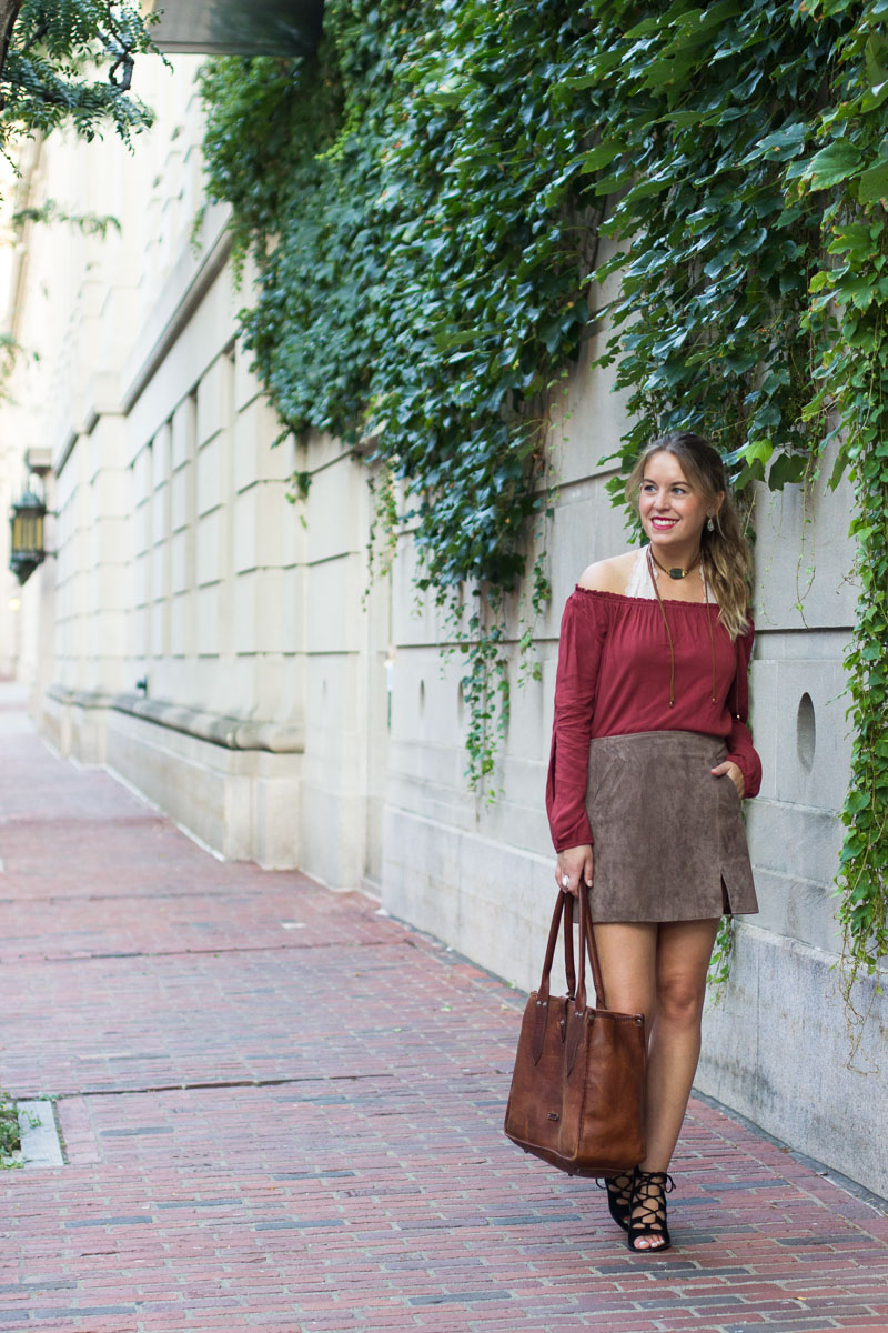 off the shoulder fall outfit